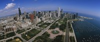 """Aerial view of Chicago and the Lake by Panoramic Images - 27"""" x 9"""""""