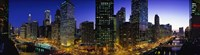"""River and Buildings Lit Up At Dusk, Chicago, Illinois by Panoramic Images - 27"""" x 9"""""""