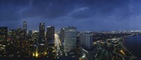 """High angle view of buildings in a city lit up at night, New Orleans, Louisiana, USA by Panoramic Images - 27"""" x 9"""""""