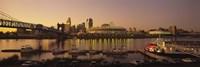 Buildings in a city lit up at dusk, Cincinnati, Ohio, USA Fine Art Print