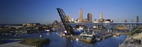 """High angle view of boats in a river, Cleveland, Ohio, USA by Panoramic Images - 27"""" x 9"""""""