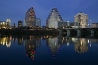 Night view of Town Lake, Austin, Texas Fine Art Print