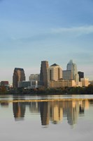 """Reflection of buildings in water, Town Lake, Austin, Texas by Panoramic Images - 18"""" x 27"""""""
