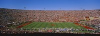 High angle view of a football stadium full of spectators, Los Angeles Memorial Coliseum, City of Los Angeles, California, USA Fine Art Print