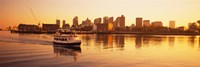"""Ferry moving in the sea, Boston Harbor, Boston, Massachusetts, USA by Panoramic Images - 27"""" x 9"""""""