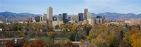 """Skyscrapers in a city with mountains in the background, Denver, Colorado by Panoramic Images - 27"""" x 9"""""""