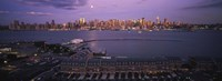 """Glowing Moon over New York Skyline by Panoramic Images - 27"""" x 9"""", FulcrumGallery.com brand"""