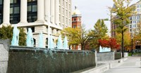 """Fountains in front of a memorial, US Navy Memorial, Washington DC, USA by Panoramic Images - 27"""" x 9"""", FulcrumGallery.com brand"""