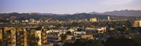 """High angle view of buildings in a city, Hollywood, City of Los Angeles, California, USA by Panoramic Images - 27"""" x 9"""""""