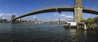 Suspension bridge across a river, Brooklyn Bridge, East River, Manhattan, New York City, New York State, USA Fine Art Print