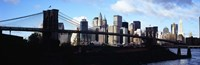"""Skyscrapers at the waterfront, Brooklyn Bridge, East River, Manhattan, New York City, New York State, USA by Panoramic Images - 27"""" x 9"""""""