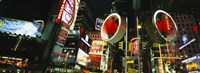 """Low angle view of buildings lit up at night, Times Square, Manhattan, New York City, New York State, USA by Panoramic Images - 27"""" x 9"""""""