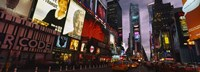 "Buildings lit up at night, Times Square, Manhattan by Panoramic Images - 27"" x 9"""