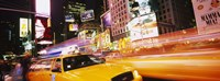 """Yellow taxi on the road, Times Square, Manhattan, New York City, New York State, USA by Panoramic Images - 27"""" x 9"""""""