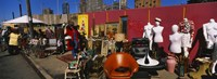 """Group of people in a flea market, Hell's Kitchen, Manhattan, New York City, New York State, USA by Panoramic Images - 27"""" x 9"""", FulcrumGallery.com brand"""