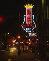 Neon sign lit up at night, B. B. King's Blues Club, Memphis, Shelby County, Tennessee, USA Fine Art Print