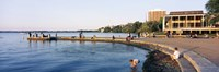 """Group of people at a waterfront, Lake Mendota, University of Wisconsin, Memorial Union, Madison, Wisconsin by Panoramic Images - 27"""" x 9"""", FulcrumGallery.com brand"""