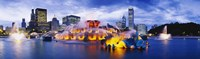 "Fountain lit up at dusk, Buckingham Fountain, Grant Park, Chicago, Illinois, USA by Panoramic Images - 27"" x 9"""
