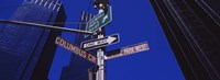 "Low angle view of a street name sign, Columbus Circle, Manhattan, New York City, New York State, USA by Panoramic Images - 27"" x 9"""
