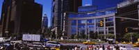 "Traffic on the road in front of buildings, Columbus Circle, Manhattan, New York City, New York State, USA by Panoramic Images - 27"" x 9"""