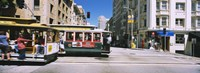 """Two cable cars on a road, Downtown, San Francisco, California, USA by Panoramic Images - 27"""" x 9"""", FulcrumGallery.com brand"""