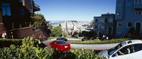 """Cars on a street, Lombard Street, San Francisco, California, USA by Panoramic Images - 27"""" x 9"""""""