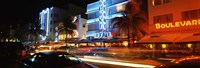 "Buildings at the roadside, Ocean Drive, South Beach, Miami Beach, Florida by Panoramic Images - 27"" x 9"""