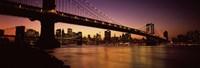 "Bridge across the river at night, Manhattan Bridge, Lower Manhattan by Panoramic Images - 27"" x 9"""