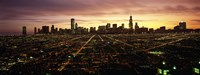"""CGI composite, High angle view of a city at night, Chicago, Cook County, Illinois, USA by Panoramic Images - 27"""" x 9"""""""