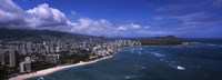 """Buildings at the waterfront, Waikiki Beach, Honolulu, Hawaii by Panoramic Images - 27"""" x 9"""", FulcrumGallery.com brand"""