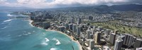 "Aerial view of buildings at the waterfront, Waikiki Beach, Honolulu, Oahu, Hawaii, USA by Panoramic Images - 27"" x 9"""