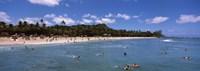 """Tourists on the beach, Waikiki Beach, Honolulu, Oahu, Hawaii, USA by Panoramic Images - 27"""" x 9"""""""