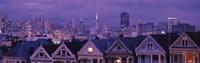 "City skyline at night, Alamo Square, California, USA by Panoramic Images - 27"" x 9"""