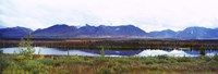Lake with a mountain range in the background, Mt McKinley, Denali National Park, Anchorage, Alaska, USA Fine Art Print
