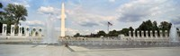 "Fountains at a memorial, National World War II Memorial, Washington Monument, Washington DC, USA by Panoramic Images - 27"" x 9"""