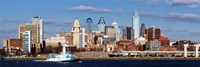 """Buildings at the waterfront, Delaware River, Philadelphia, Pennsylvania by Panoramic Images - 27"""" x 9"""""""
