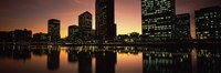 """Buildings lit up at dusk, Oakland, Alameda County, California, USA by Panoramic Images - 27"""" x 9"""""""