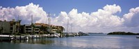 """Boats docked in a bay, Cabbage Key, Sunshine Skyway Bridge in Distance, Tampa Bay, Florida, USA by Panoramic Images - 27"""" x 9"""""""