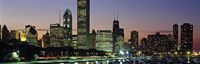 """Buildings lit up at dusk, Lake Michigan, Chicago, Cook County, Illinois, USA by Panoramic Images - 27"""" x 9"""""""