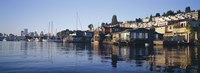 """Houseboats in a lake, Lake Union, Seattle, King County, Washington State, USA by Panoramic Images - 27"""" x 9"""", FulcrumGallery.com brand"""