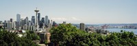 """Skyscrapers in a city, Space Needle, Seattle, Washington State, USA by Panoramic Images - 27"""" x 9"""""""