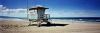 """Lifeguard hut on the beach, 8th Street Lifeguard Station, Manhattan Beach, Los Angeles County, California, USA by Panoramic Images - 27"""" x 9"""""""