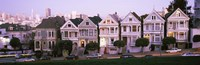 """Row houses in a city, Postcard Row, The Seven Sisters, Painted Ladies, Alamo Square, San Francisco, California by Panoramic Images - 27"""" x 9"""""""