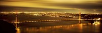 """Golden Gate Bridge and San Francisco Skyline Lit Up at Night by Panoramic Images - 27"""" x 9"""""""