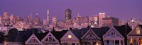 """Skyscrapers lit up at night in a city, San Francisco, California, USA by Panoramic Images - 27"""" x 9"""""""