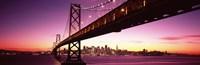 "Bay Bridge and city skyline at night, San Francisco, California, USA by Panoramic Images - 27"" x 9"""