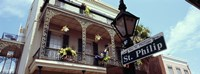 """Street name signboard on a lamppost, St. Philip Street, French Market, French Quarter, New Orleans, Louisiana, USA by Panoramic Images - 27"""" x 9"""""""