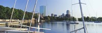 """Sailboats in a river with city in the background, Charles River, Back Bay, Boston, Suffolk County, Massachusetts, USA by Panoramic Images - 27"""" x 9"""" - $28.99"""