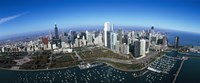 """Aerial view of a park in a city, Millennium Park, Lake Michigan, Chicago, Cook County, Illinois by Panoramic Images - 27"""" x 9"""""""