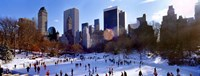 """High angle view of people skating in an ice rink, Wollman Rink, Central Park, Manhattan, New York City, New York State, USA by Panoramic Images - 27"""" x 9"""" - $28.99"""